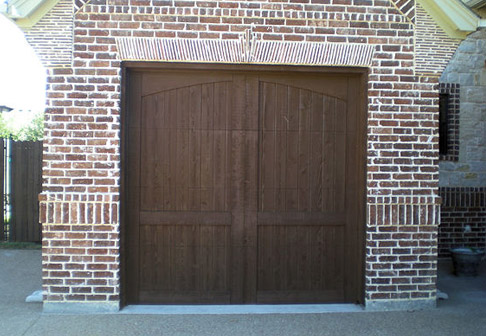 Painted wooden garage doors