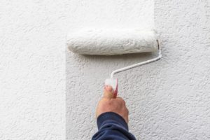a person painting a room white