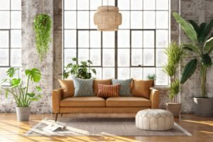 a bright living room with many plants