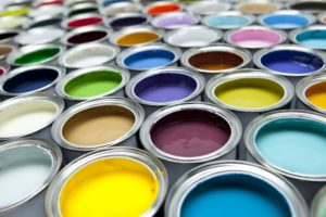 a wide color selection of paint
